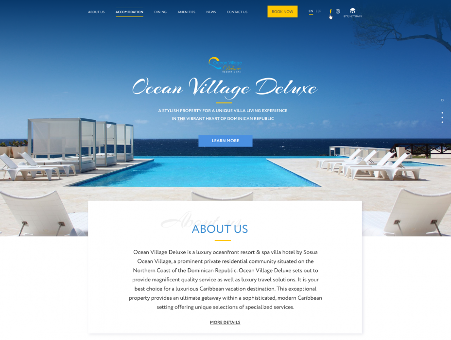 home page design — The site of the luxury resort Ocean Village Deluxe