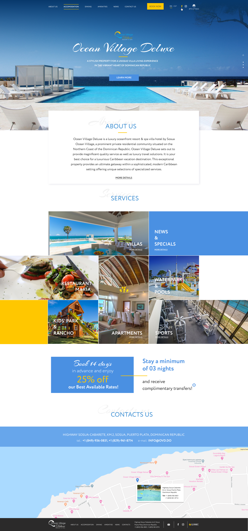home page design — The site of the luxury resort Ocean Village Deluxe_0